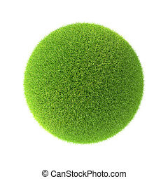 Green grass ball Isolated on white background in the design...