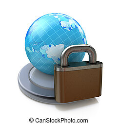 Lock and globe on white background. Isolated 3D image