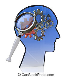 Head with gears inside as a symbol work of brain and magnifying glass