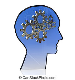 Head with gears inside as a symbol work of brain