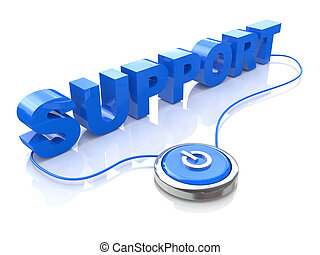 Blue support word and button in the design of the...