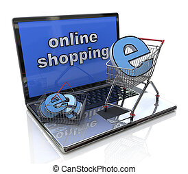 online shopping 3d concept in the design of information...