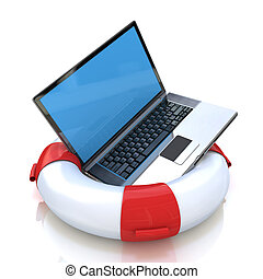 Laptop on lifebuoy over white, support, service concept in...