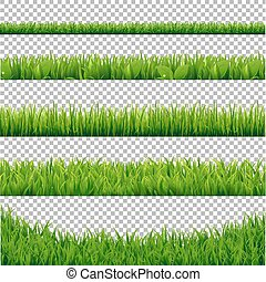 Green Grass Borders Collection, Isolated on Transparent...