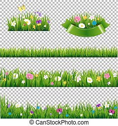 Green Grass Borders Collection With Flowers