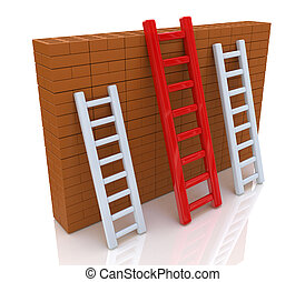 Several ladders with different length leaning the brick wall...
