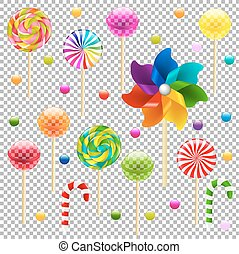 Lollypop Set With Pinwheel, Isolated on Transparent...