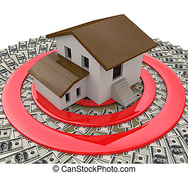 Real estate concept depicting a house on top of a target and money
