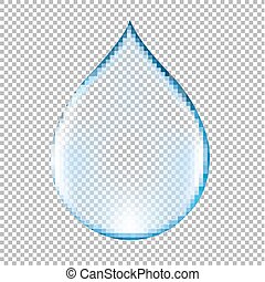 Realistic Blue Water Drop