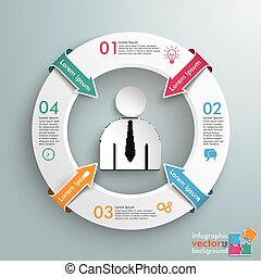Ring 4 Arrows Businessman Centre - Infographic with white...
