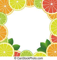 agrume, bianco, centro, frutte
