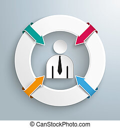 Rings 4 Arrows Businessman Centre - Infographic with white...