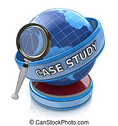 Education concept: magnifying optical glass with words Case Study on globe, 3d render