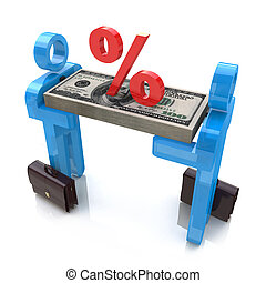 3d people carry money and the sign percentage in the design...