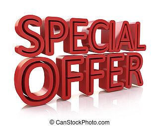 3D special offer word on white background in the design of...