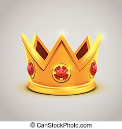 Gold king crown with red jewels. Vector illustration