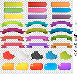 Big Set Web Ribbons, Isolated on Transparent Background,...