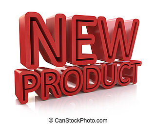 3D new product word on white isolated background in the...