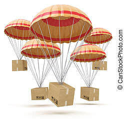 parcels flying down from sky with parachutes, concept for delivery service isolated on white background