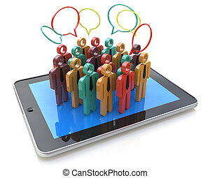 Creative social media, internet communication and business marketing corporate web concept: group of 3D color people figures on Tablet PC Computer
