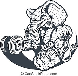 elephant weightlifter - muscular elephant lifting weights...