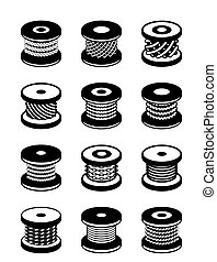 Reels with different ropes and wires - vector illustration