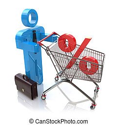 man pushing a shopping cart with percent in the design of...
