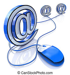 computer mouse connected to email sign in the design of...