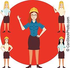 Set of engineer women