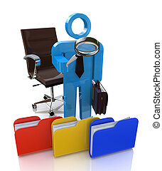3d man looking for the document to a file folder