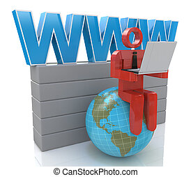 3d small person working on a laptop next to the globe. 3d image. White background