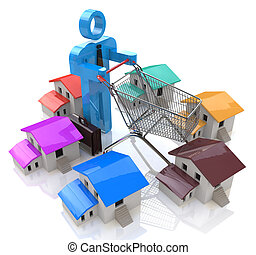 House Shopping - Stock Image in the design of information...