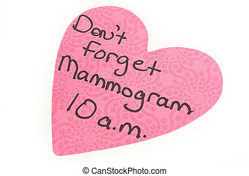 Mammogram Reminder - A pink heart shaped post-it-note...