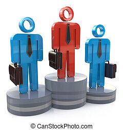 Business competition. 3d businessmen on winners podium and the first color is different