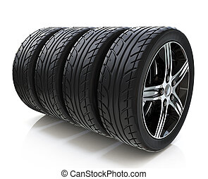 Car wheels on white background in the design of information...