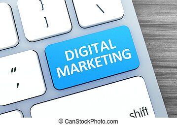 Digital Marketing Text on a Button on Modern Computer...