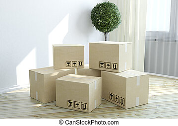 Construction industry, housing, habitation and real estate business concept: group of stacked cardboard boxes on wooden laminated floor behind white wall in new house interior