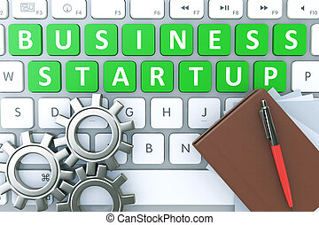 """""""Start up"""" text on a button keyboard, a notebook with a pen and gears"""