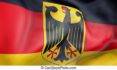 Germany flag 3d illustration - Germany flag waving in the...