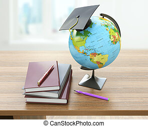 School education concept Mortar board, textbooks, globe and...