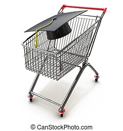College And University Shopping concept with mortar board or graduation cap in a store shop cart as a metaphor for tuition and scholarship choices