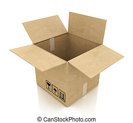 Empty opened cardboard box in the design of information...