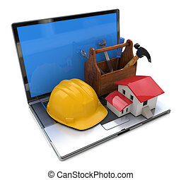 Small house, wooden toolbox, safety helmet on laptop keyboard. Development in the construction industry. Concept. 3d illustration
