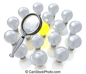 Magnifying glass searching for a good idea light bulb