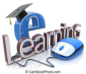 computer mouse and word E-learning - education concept in...