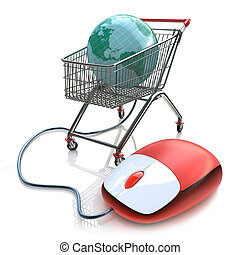 Supermarket cart 3d with computer mouse and globe internet...