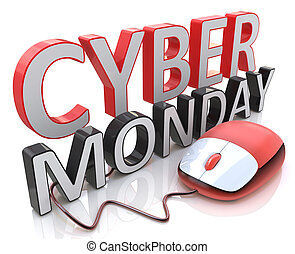 Word Cyber Monday and computer mouse in the design of...