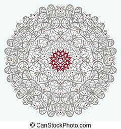 Mandala Print in red and grey color