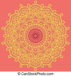 Mandala Print Orange. - Mandala Print in Orange and Yellow...