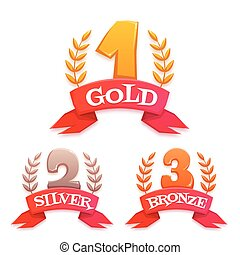 Golden trophy set with laurel and ribbon. Win title. Vector illustration